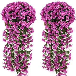 Evoio Artificial Violet Ivy Flowers, 2PCS DIY Hanging Basket Garland Wedding Wall Ratta Silk String Floral Decoration Purple