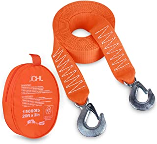 """JCHL Tow Strap Heavy Duty with Hooks 2""""x20' 15,000LB Recovery Strap 6,8 Tons Towing Strap with Safety Hooks Polyester"""