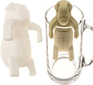 A.B Crew Mr and Miss Pug Silicone Tea Infuser Set of 2 Cute Teacup Strainer Teapot Filter Best for Loose Leaf