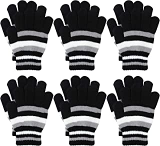 Coobey 6 Pairs Children Warm Stretch Gloves Winter Knitted Stripe Magic Gloves for Boys or Girls