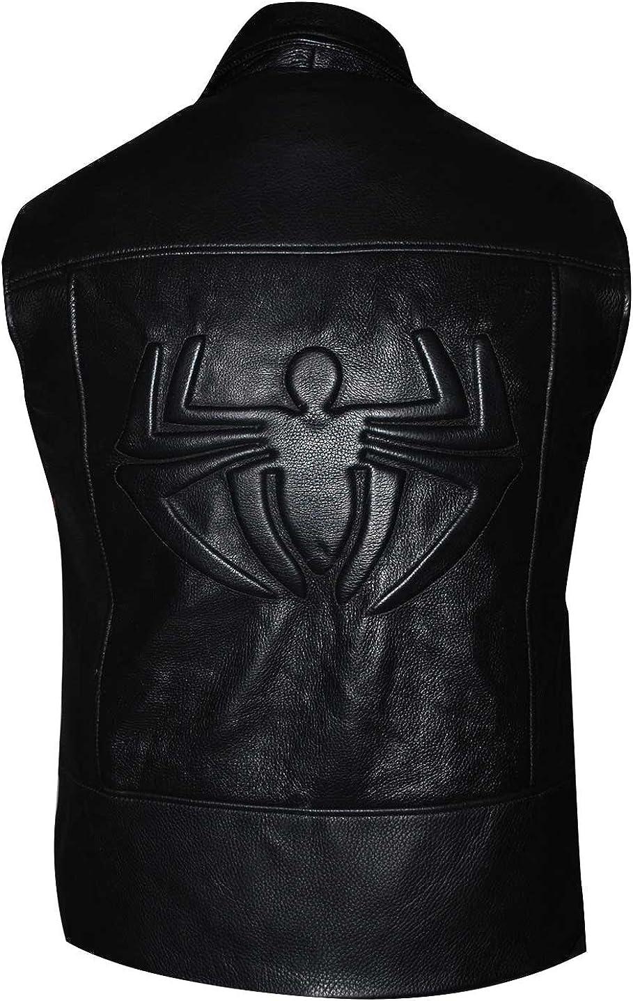 Spider Man Noir Stylish Costume Nicolas Cage Faux Leather Vest
