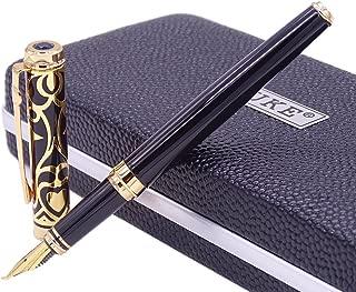 Duke Sapphire Fude Nib Fountain Pen Black Gold Trim Original Gift Box Set, Iridium Bent Nib Writing Pen for Business Signature, Art Drawing,Calligraphy