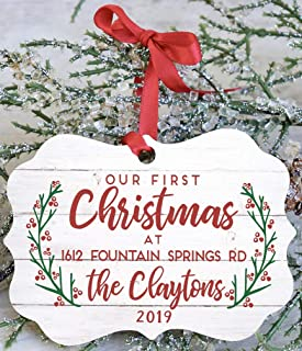 Our First Christmas At Our New Home Personalized Address And Last Name 2019 Ornament