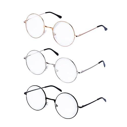 8ce621a6636 Metal Frame Round Eyeglasses Retro Metal Clear Lens Glasses