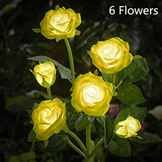 HAPJOY Solar Flower Lights Outdoor Waterproof Decorative LED Solar Powered Stake Lights,6 Rose Flower 1 Pack Lights for Patio Pathway Courtyard Garden Lawn. (Yellow)