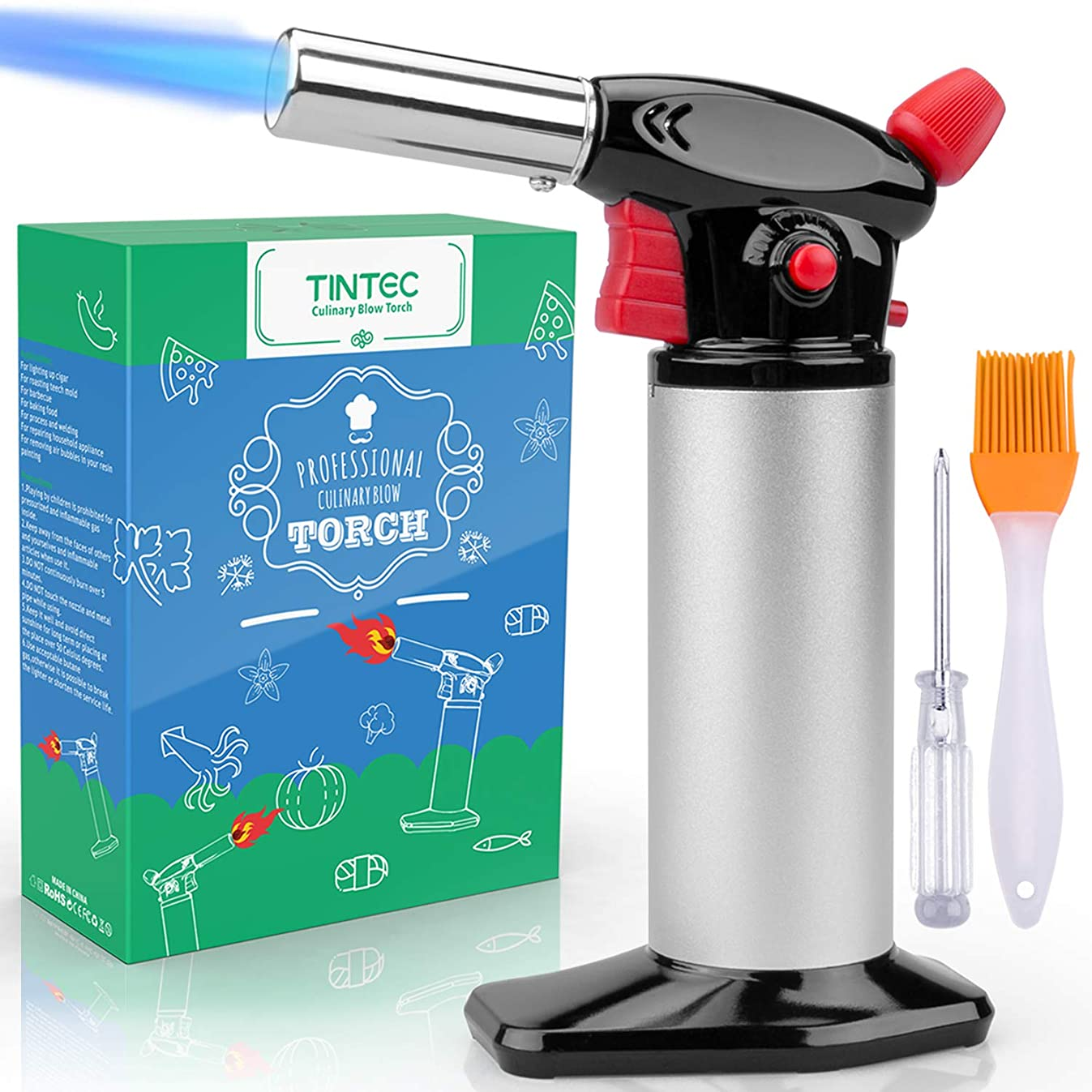 Cooking Torch Lighter, Tintec Chef Culinary Blow Torch Large Capacity, Butane Refillable, Flame Adjustable (MAX 2500°F) with Safety Lock for Cooking, BBQ, Baking, Brulee, Creme, DIY Soldering& more