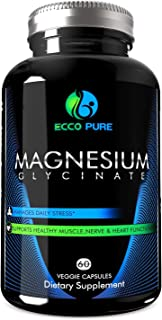 Magnesium Glycinate - High Absorption Mag Supplement for Sleep, Leg Cramps, Muscle Relaxation & Recovery, Headaches, Energy - for Women & Men - Pure, Gluten-Free, Non-GMO Pills - 60 Veggie Capsules