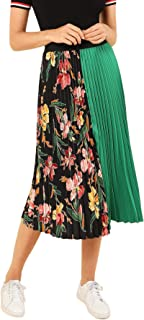 SheIn Women's Summer Color Block Floral Midi A-Line Pleated Skirt