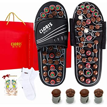 CLORIS Foot Massager Deep Tissue Circulation  Massage Slippers with Jade Stones and Tourmalines  Fasciitis Relief Massage Ball with a Pair of Sock Gifts for The Family Suitable for All Seasons