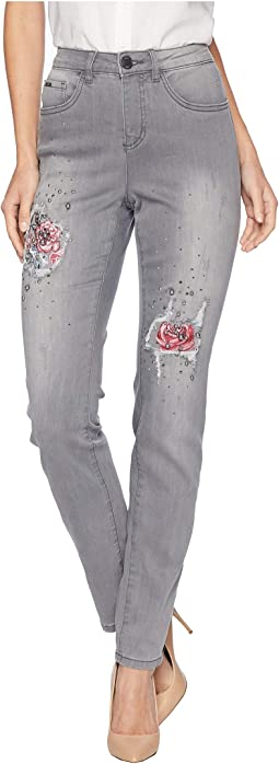 Sterling Roses Embroidered Olivia Slim Leg
