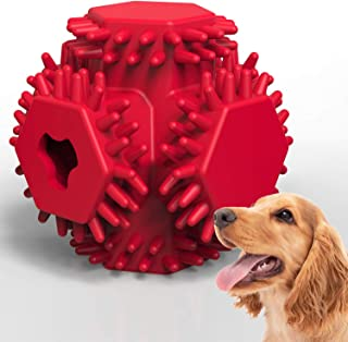 HAOPINSH Dog Treat Toy, Durable DogRubberBall Dispenser Dog Chew Toys Almost Indestructible Interactive Dog Treat Ball for Large Breed Medium Dogs Teeth Cleaning Chewing Playing IQ Training