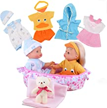 Young Buds 8pcs for 8-9-10-11 Inch Alive Baby Doll Clothes Dress Reborn Newborn Baby Doll Accessories Gown Costumes Outfits with Cradle Carry Bag Pillow Sheet Quilt Xmas Gift-wrap