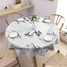 Polyester Round Tablecloth Mountain Machine Washable Snowy ICY Mountain Tops Peaks in Winter Hand Drawn Style Climbing Collection,Round - 36 inch Black and White