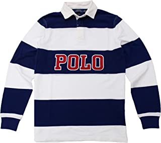 Classic Fit Striped Long Sleeve Rugby Polo Shirt