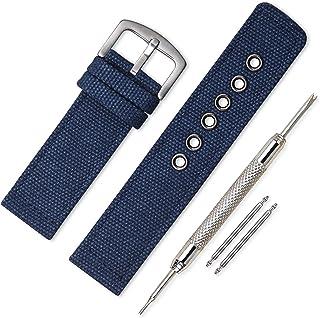 時計ベルト 時計 ベルト ファブリック 18mm 20mm 22mm 24mm 時計 バンド 時計バンド 替えベルト 替えバンド ベルト 交換|ラバーベルト 防水 ラバーバンド ベルトだけ 時計ベルトラバー (22mm, Navy Blue)