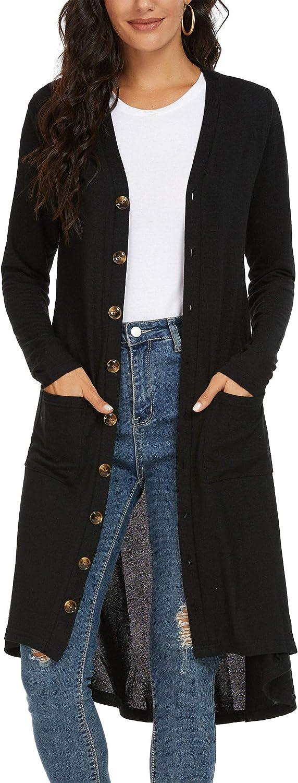 Kormei Damen Strickjacke Casual Cardigan Mantel Strickpullover Langarm Asymmetrisch Langshirt Schwarz