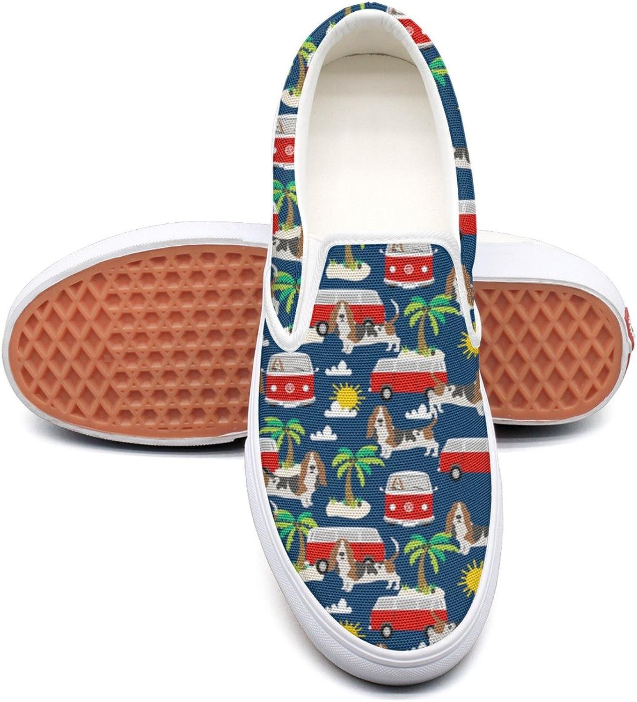 SEERTED Basset Hound Dog Beach Dog Palm Tree Ladies Sneakers
