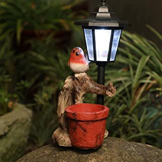 SHAREWIN Garden Bird Flowerpot Solar Light Resin Outdoor Decor for Fall Winter Garden Decor with one Solar Light, Solar St...