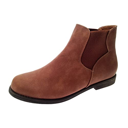 a1f08120e91 Lora Dora Womens Faux Leather Suede Flat Low Heel Gusset Chelsea Ankle Boots  Ladies Girls Shoes