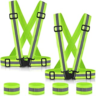 Reflective Vest Running Gear 2Pack, SAWNZC Adjustable Safety Vest Outdoor Reflective Belt High Visibility with 4 Reflectiv...