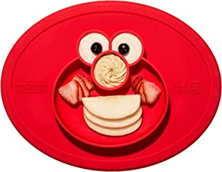 ezpz Sesame Street Elmo Mat - One-Piece Silicone placemat + Plate (Red)