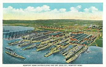 Newport News, Virginia - Aerial View of the Newport News Shipbuilding and Dry Dock Co. (16x24 Giclee Gallery Print, Wall Decor Travel Poster)