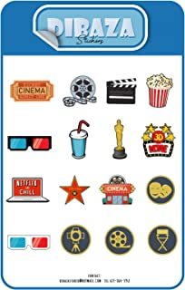 Sticker Cinema Seventh Art Walk of Fame Laptop Books Gift Decoration Sticker for All Occasions 16 Figures 2 Sheet