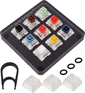 Akwox 9-Key Kailh Box Switch Tester, Mechanical Keyboards Retooled Sampler Switch Testing Tool, with Keycap Puller and O R...