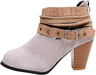 Women's Wide Width Ankle Booties,ONLYTOP Women Comfort Chunky Mid Heel Casual Western Short Boots Lace up with Rivets
