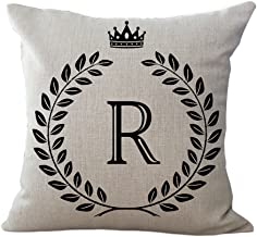 ChezMax Cotton Linen Cushion Cover English Alphabet Pattern Square Decor Pillowslip Decorative Throw Pillow Case 18 X 18