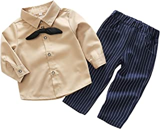 Fairy-Baby Baby Kids Long Sleeve Autumn Pant Set Toddler Boys Gentlemant Outfit Cotton Shirt and Matching Striped Pants