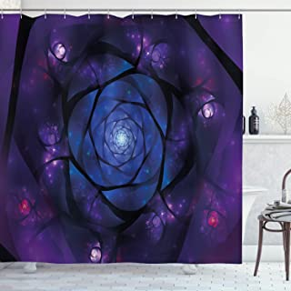 Ambesonne Mandala Shower Curtain, Mystical Psychedelic Universe Flower in Space Motif Art Print, Cloth Fabric Bathroom Decor Set with Hooks, 75