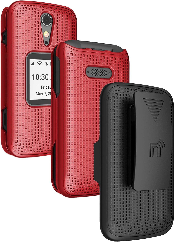 Case with Clip for Jitterbug Flip2, Nakedcellphone [Red] Snap-On Hard Shell Cover with [Rotating/Ratchet] Belt Hip Holster Holder for Jitterbug Flip 2 Phone (aka Lively Flip) (4053SJ7)