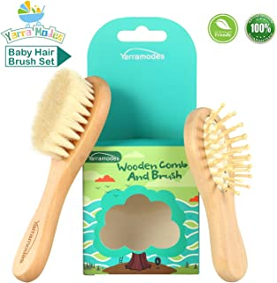 Baby Goat Hair Brush and Comb Set for Newborns & Toddlers Eco-Friendly Safe Brush for Cradle Cap Natural Wooden Comb Perfect Baby Shower and Registry Gift (Baby Hair Brush Set)