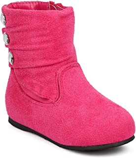 DB71 Suede Round Toe Pleated Jewel Riding Boot (Infant/Toddler Girl)