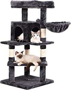 BEWISHOME Cat Tree Tower with Top Plush Perch Multi-Level Cat Condo Sisal Scratching Posts, Cat Play House Activity Center Cat Furniture MMJ12