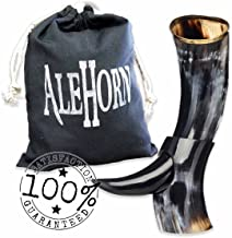 Alehorn - Genuine Drinking Horn - Polished Finish - Medieval Viking Norse Beer Mug - Game of Thrones Cup Goblet for Beer, Mead, Ale - Waterproof Interior - Curved Style (12