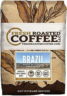 Fresh Roasted Coffee LLC, Brazilian Minas Gerais Coffee, Light Roast, Direct Trade, Whole Bean, 5 Pound Bag