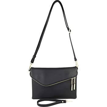 B BRENTANO Fold-Over Envelope Wristlet Clutch Crossbody Bag with Tassel Accents
