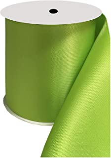 DUOQU 4 inch Wide Double Face Satin Ribbon 5 Yards Roll Multiple Colors Apple Green