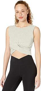 Amazon Brand -  Core 10 Women's (XS-3X) Pima Cotton Blend Knot Front Cropped Yoga Tank