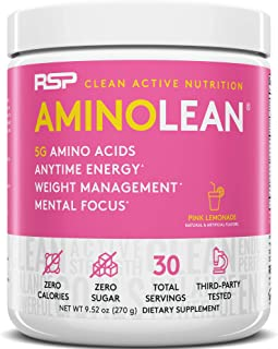 RSP AminoLean - All-in-One Pre Workout, Amino Energy, Weight Management Supplement with Amino Acids, Complete Preworkout Energy for Men & Women, Pink Lemonade, 30 (Packaging May Vary)