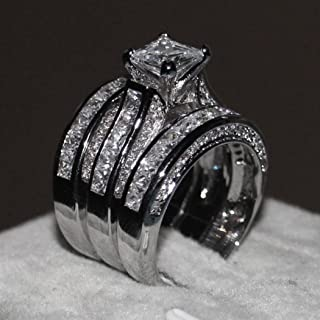 Wensltd 3-in-1 Womens Vintage White Diamond Silver Engagement Wedding Band Ring Set