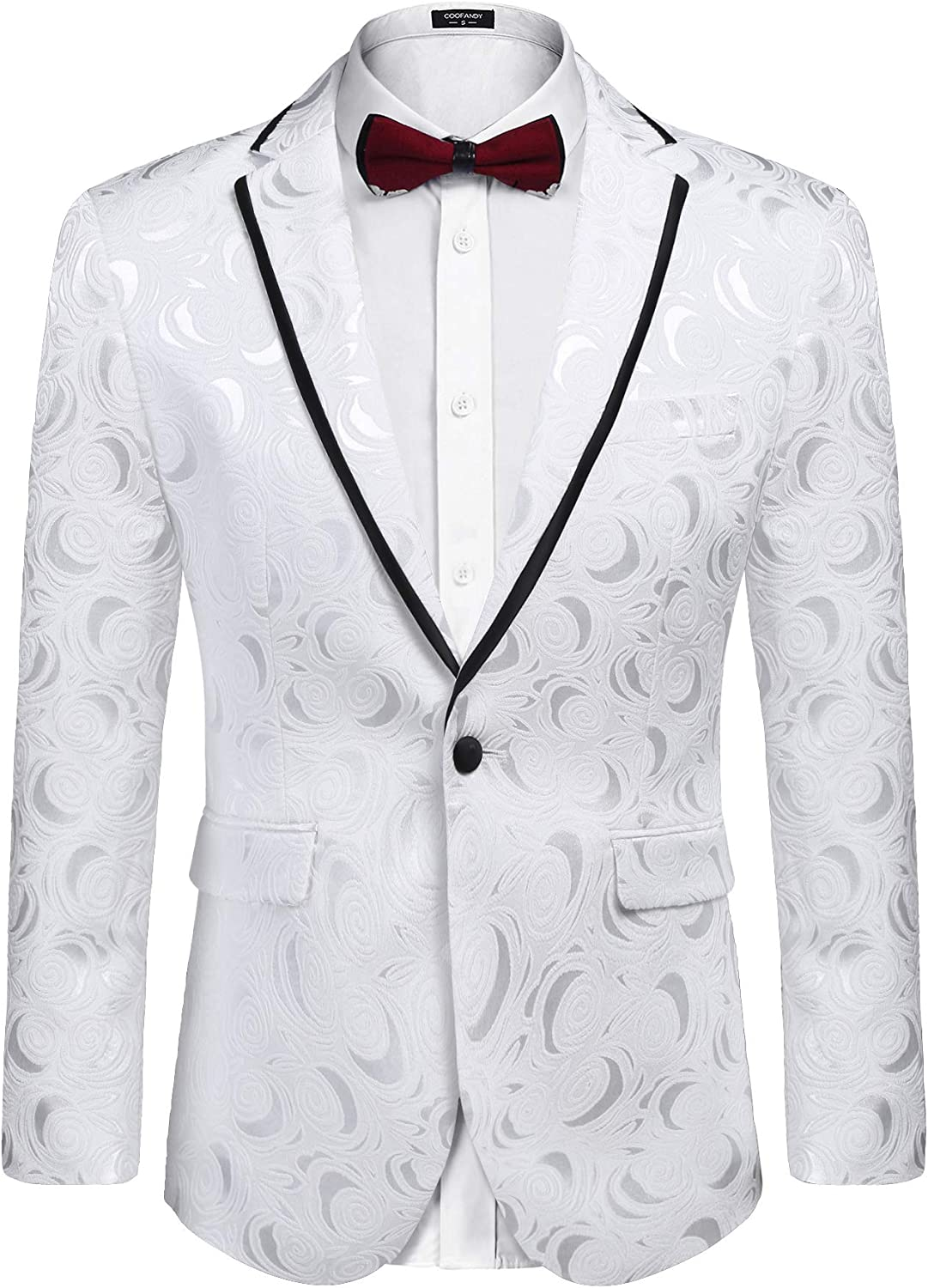 COOFANDY Men's Floral Suit Austin Mall NEW before selling ☆ Jacket Wedding Par Blazer Embroidered