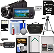Sony Handycam HDR-CX440 8GB Wi-Fi 1080p HD Video Camera Camcorder with 32GB Card + Case + LED Light & Bracket + Battery + Tripod + Kit