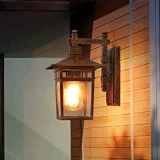 Vintage Chinese Style Outdoor Waterproof Aluminum Glass LED Wall Lamp Sconce J-Style Simple Antique Villa Door Hall Garden...