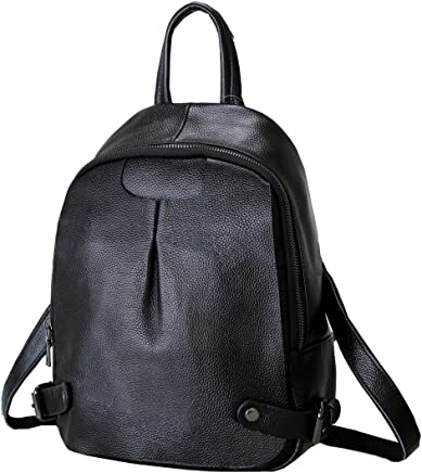 """HESHE Women's Leather Soft Backpack Casual Daypack Double Shoulder Bags 9.84""""(L) x 12.99"""" x (H)5.11 """"(W)in Black"""