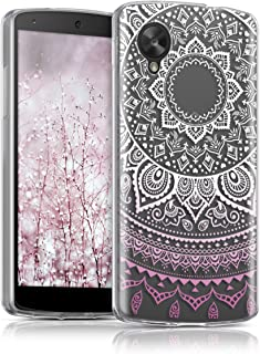 kwmobile TPU Silicone Case for LG Google Nexus 5 - Crystal Clear Smartphone Back Case Protective Cover - Light Pink/White/Transparent