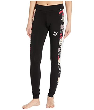 PUMA Trend All Over Print Leggings (Black Floral) Women