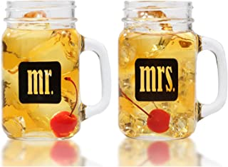 Mr. & Mrs. Mason Jars - Glass Drinking Glass Set With Gift Box - For Couples - Engagement, Wedding, Anniversary, House Warming, Hostess Gift, 16 ounce